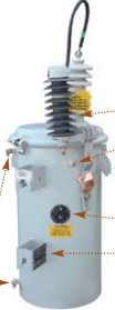 *GE C501412NT1DHAR TRANSFORMER 50KV POLEMOUNT, 24940GRDY/14400 - 120/240, LEAD LENGTH FROM BUSHING TO LT ARRESTER MAX OF 18""